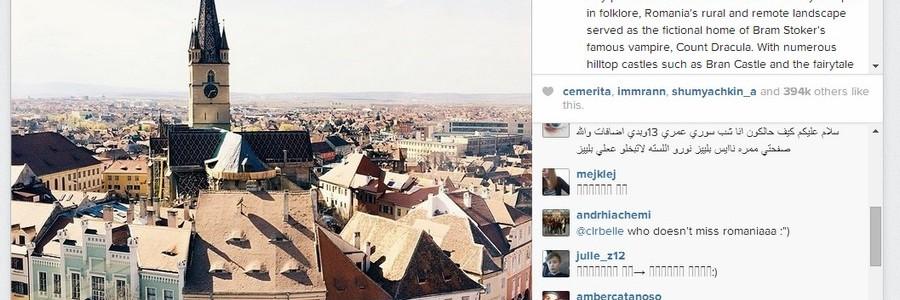 Instagram promovează Sibiul.
