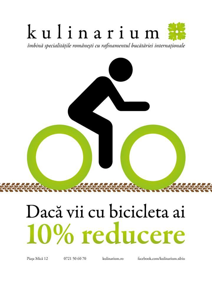 Daca vii cu bicicleta, ai 10% reducere!