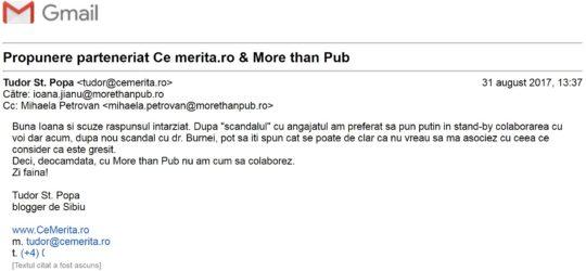 Am renunţat la colaborarea cu agenţia More than Pub